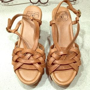 Lucky Brand Wedge Leather Sandals